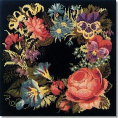 embroidery on black background | Elizabeth Bradley: Summer Wreath Tapestry Kit