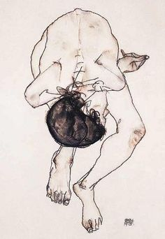 Egon Schiele.  Thin black continuous line forming the shape of man scrunched up folding in and over himself. Small parts of shading placed in darker areas done with a slightly darker brown compared to the background. Continued theme of the tea stained background with the minimal black on top again with little use of colours.