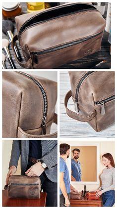 Leather Toiletry Bag Dopp Kit by Rachiba - Mens Leather Toiletry Bag 8e84bddd7232c