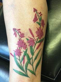Fireweed tattoo by Ms. Judy at Anchorage Tattoo Studio