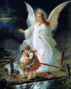 Guardian Angel and Children Crossing Bridge ~ Paper Art Print ~ Photo ~ Size Painting by Schutzengel or Vatzka Unframed Photograph Guardian Angels, Angels Tattoo, Engel Illustration, Guardian Angel Pictures, Foto Fantasy, Angel Kids, Mosaic Crosses, Angels Among Us, Jesus Christ