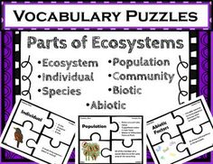 Parts of Ecosystems Vocabulary Puzzles. Use these puzzles to provide quick and fun matching practice with the vocabulary for the different parts of ecosystems.. Each puzzle includes 4 pieces: vocabulary word, examples/facts, illustration, and definition.