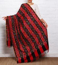 Black & Red Kani Embroidered Pure Pashmina Shawl #Ethnic wear #Pashmina #Shawls #dupattas #Indiancrafts