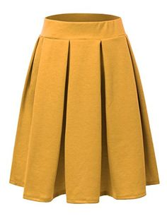 3d1d0a93f75 Doublju Elastic Waist Flare Pleated Skater Midi Skirt (Plus size available)  MUSTARD LARGE