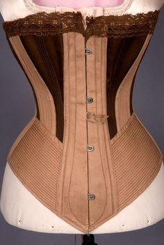 Two-Tone Brown Spoon Busk Corset, 1875-1900