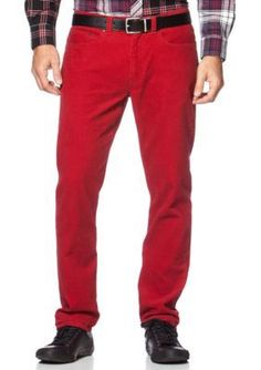 Chaps Richmond Red Straight-Fit Corduroy 5-Pocket Pant