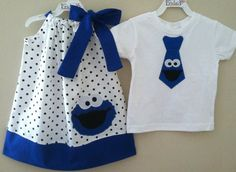 Brother & Sister cookie monster pillowcase style dress and shirt tie. Need for Shade and Whitlee Twin Outfits, Matching Outfits, Baby Boy Outfits, Newborn Outfits, Toddler Outfits, Sewing For Kids, Baby Sewing, Sew Baby, Cookie Monster Party