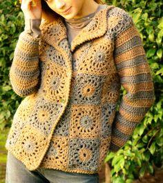 tejidos artesanales en crochet: sobrio sacon tejido en crochet (talle medium)