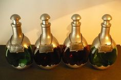 BLACK FRIDAY SALE! DAALDEROP Royal PEWTER Set Of 4 Glass DECANTERS w Liquor Tags #ArtDeco #DaalderopRoyalPewterHolland