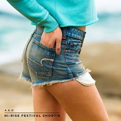Get beach-ready with Hi-Rise Festival Shorties. Beach Ready, Denim Shorts, Jeans, Aeo, Street Style, How To Wear, Collection, Fashion, Moda