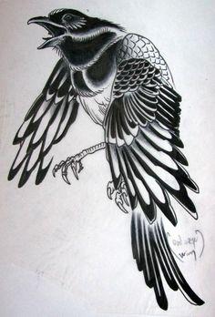All information about Traditional Magpie Tattoo. Pictures of Traditional Magpie Tattoo and many more. Rabe Tattoo, 7 Tattoo, Tatto Ink, Tattoo Drawings, Crow Art, Raven Art, Bird Art, Love Tattoos, Beautiful Tattoos