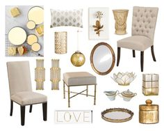 Transitional Gold and Cream Home Decor Color Scheme | Polyvore by Countryside Amish Furniture