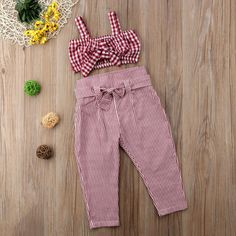 A matchy red crop top and square pants for your little lady Bow Crop Tops, Striped Crop Top, Striped Pants, Plaid Pants, Little Girl Outfits, Kids Outfits, Summer Outfits, Cute Fashion, Kids Fashion