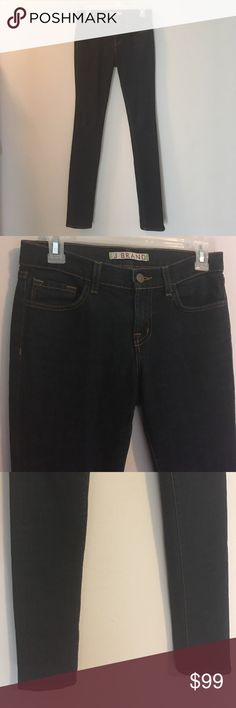 "J Brand Skinny Dark Wash Ink Denim Jeans Top quality J Brand Inky stretch denim defines ultra-versatile jeans cut with super-skinny legs for a very slimming silhouette. In excellent condition with zero signs of wear- no fading or damage. Last 2 photos show the most accurate color. Inseam 32"" Rise 8"" J Brand Jeans Skinny"