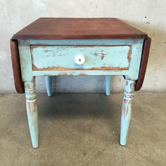 "Hand Painted Distressed Drop Leaf End Table  22 1/4"" x 40 1/4"" x 24"""