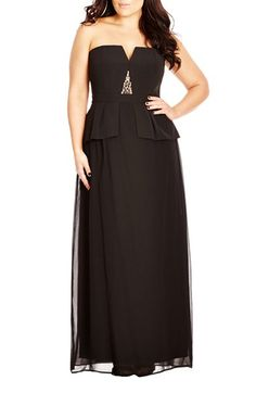 City Chic 'Beaded Vixen' Strapless Notch Neck Peplum Gown (Plus Size) available at #Nordstrom