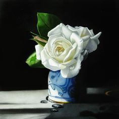 Roses In Shadow 6x6, painting by artist M Collier