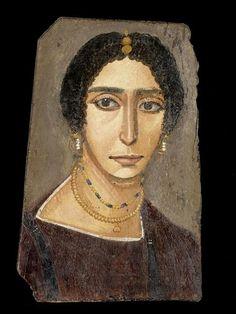 Portrait de momie de femme, antiquités égyptiennes, époque romaine, musée du Louvre, Paris