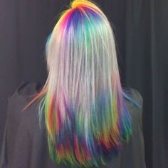 Rainbow roots AND tips, leaving a platinum shine line - entirely Sadie's idea! We always come up with good stuff together Hair Color And Cut, Cool Hair Color, Hair Colour, Hair Dye Colors, Rainbow Hair Colors, Colorful Hair, Purple Hair, Ombre Hair, Coloured Hair