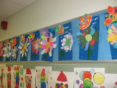 Clay butterflies with paper flowers- gr.3