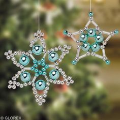 """beaded christmas ornaments by Lensia"" ignore the link, leads to spammy looking site. Just keeping it for image idea for gifts. Beaded Christmas Decorations, Christmas Ornaments To Make, Snowflake Ornaments, Christmas Snowflakes, Beaded Ornaments, Christmas Jewelry, Handmade Christmas, Holiday Crafts, Christmas Holidays"