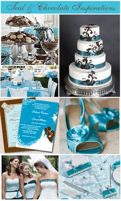 champagne wedding ideas | teal wedding inspirations collage Teal and Chocolate Wedding Theme ...