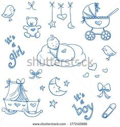 Baby icons, toys, teddy, pram, duckling, cradle, hand drawn sketch vector illustration