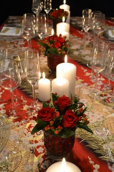You can never have too many candles at a Christmas dinner party