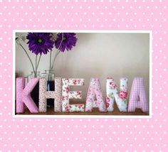 8 Padded Fabric Covered Letters name initial by MummysLittleGemUK