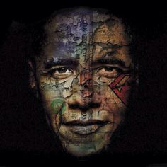 Barack Obama, in an augmented photo portrait by Belgian artist Bruno Timmerman