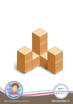 Bouwkaart 3 moeilijkheidsgraad 3 voor kleuters, kleuteridee, Preschool card building blocks with toddlers 3, difficulty 3, free printable