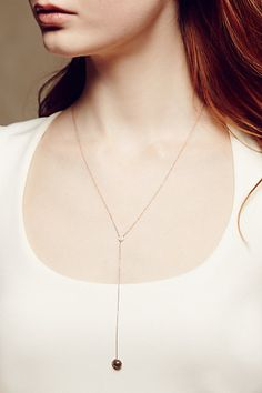 Labradorite and Diamond Necklace in 14k Rose Gold - anthropologie.com #anthrofave