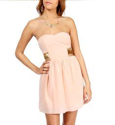 Peach/Gold Strapless Sequin Bar Back Dress. WANT.