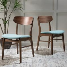 Christopher Knight Home Lucious Mid-Century Wood Dining Chair with Fabric (Set of 2)