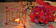Handmade pink and gold candle holder and pink roses
