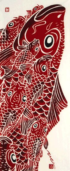 Japanese Tenugui Cotton Fabric, Carp, Dynamic Design, Hand Dyed Fabric, Modern…