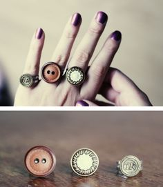 11 Simple DIY Craft Ideas for Adults - DIY Button Rings - My supplies of buttons just doesn't seem to get any smaller. After making the Bow button shirt, I still had loads left. And because I've seen some button ring DIY's on Pinterest and Craftgawker, I felt like making my own button rings!