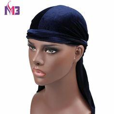#FASHION #NEW New Luxury Men's Velvet Durags Bandana Turban Hat Wigs Doo Durag Biker Headwear Headband Pirate Hat Hair Accessories