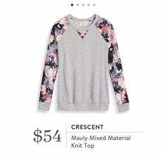 Catherine- YES YES YES! I want this in my closet! If not available then maybe another mixed material top? Bright colors!!