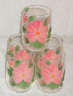 Set of 5 Vintage Franciscan Desert Rose Juice Glasses Tumblers by ShonnasVintage, $24.99