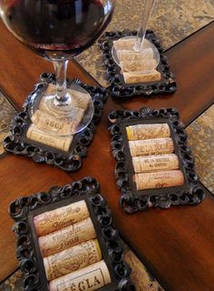 DIY  Cork Coasters Using Small Picture Frames    These coasters are black, sexy and one of a kind! The corks are placed in the middle of a rustic and vintage looking frame and would look perfect in any wine decorated room.  This would make a thoughtful and unique gift for a woman who loves to drink wine on a Thursday night with her girlfriend