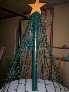 Christmas tree made out of plywood,lights,pvc pipe