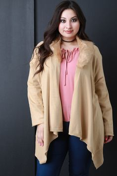 Detachable Faux Fur Collar Cardigan