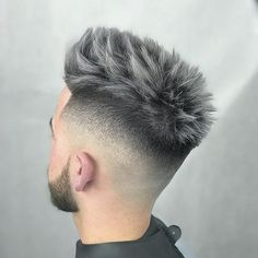 Crop haircut styled into thick spikes #newhairstylesformen #menshair #menshairstyles #menshaircut #menshair2018 #menshairtrends #spikyhairmen #highfade #fade