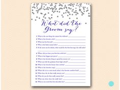 Navy Silver  Bridal Shower Games What did the Groom Say What  #babyshowerideas4u #birthdayparty  #babyshowerdecorations  #bridalshower  #bridalshowerideas #babyshowergames #bridalshowergame  #bridalshowerfavors  #bridalshowercakes  #babyshowerfavors  #babyshowercakes