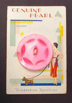 ButtonArtMuseum.com - Big Pink MOP Button and Small Scottie Dog on A Leash Deco Card RARE