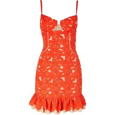 Three Floor Cheeky Summer Lace Effect Bodycon Dress (1.155 BRL) ❤ liked on Polyvore featuring dresses, red, red mini dress, bodycon cocktail dress, red dress, lace bodycon dress and summer cocktail dresses