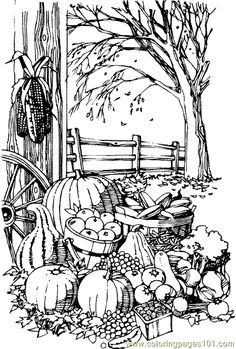 fall coloring pages printable | Coloring Pages Fall Harvest (Natural World > Autumn) - free printable ...