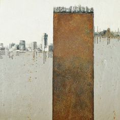 The art of ERNA dE VRIES encaustic and mixed media using concrete, wax, reclaimed metal and image transfers