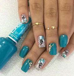 Nails - BRIGITTE - #brigitte #Nails Aycrlic Nails, Get Nails, Blue Nails, Hair And Nails, Nail Spa, Manicure And Pedicure, Pearl Nails, Daily Nail, Nail Technician